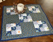Country Quilt Table Runner Square, Blue Floral Calico Table Topper, Patchwork Quilt Kitchen Table Centerpiece