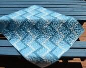 Blue Baby Quilt, Rail Fence Quilt, Baby Boy Blanket, Crib bedding, Blue Gray Nursery Decor, Baby Shower Gift