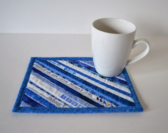 Blue Selvage Coaster, Mug Rug, Upcycled Placemat, Table Protector, Mini Quilt, Shades of Blue