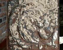 "Genuine Antique Ceiling Tile -- 12""x12"" -- Rusty Tan Paint -- Swirling Vines Design"