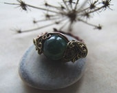 Mossy Agate Forest Ring, Wire Wrapped Woodland Adjustable Ring, Copper Agate Ring, Forest Mossy Ring