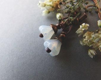White Flower Earrings, Dangle Tinkerbell Earrings, Boho, Woodland, Small Dangle Flower Earrings