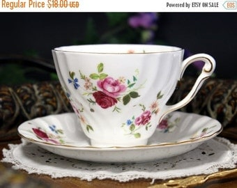 Teacup, Vintage Tea Cup and Saucer - Princess Anne Pink Roses, English Bone China 13294