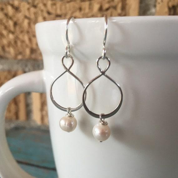 pearl statement earrings silver infinity earring bridal