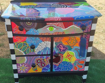 Funky Painted Vintage Cabinet -SOLD