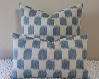 Fabricut Jacquard Small Scale Ikat Print in Denim Blue and Bone - Lumbar and Square Sizes - Decorative Designer Pillow Cover