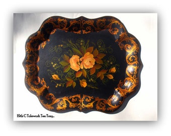 Antique French Tole Work Tea Tray c. 1900 -Rare Find- Victorian Style - Elegant Home Decor-Tolework Tray