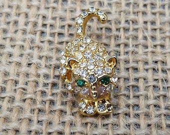 Vintage Crystal Rhinestone and Gold Tone Cat Kitten Kitty Figural Animal Tack Pin