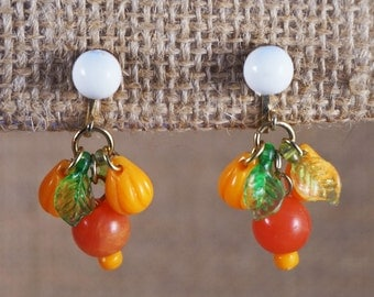 Orange White and Green Plastic Fruit Citrus Leaves Earrings Kitsch