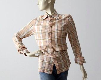 vintage 70s gauze cotton shirt, plaid button down