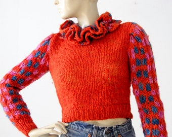 vintage crop sweater, ruffle collar red knit top