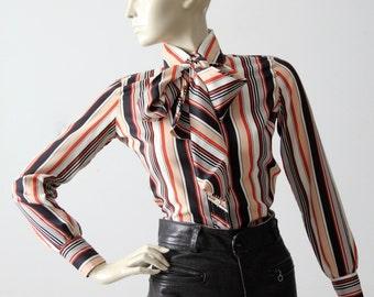 1970s Tucci blouse, striped secretary shirt