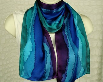 Jewel Tone Hand Dyed Silk Scarf