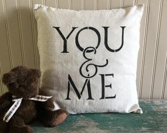 "18"" x 18"" cotton pillow cover, YOU & ME"