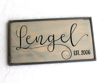 "12"" x 23"" Wooden Sign - Last Name Sign with Est Year - Made to Order - Engraved Wooden Stained Pine Sign with Frame"