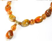 ON SALE Sunset Jasper and Amber Necklace, Sea Sediment Jasper, Orange Necklace, Gemstone Necklace
