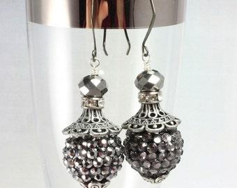 Silver Black Long Dangle Earrings, Pave Bead Earrings, Sparkle Earrings, New Years Eve, Prom
