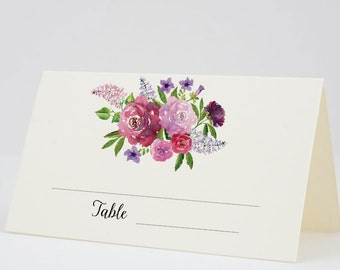 Place Cards, Escort Cards, Folded Tent Cards, Pink and Purple Flowers - Garden Blooms, Set of 12, Size 2 x 3.5 inches, Printed Cards