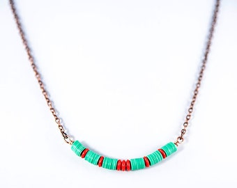 African vinyl and coral glass bead necklace