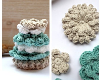 6 crochet Flowers to decorate blue/beige/white