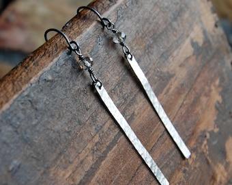 Czech Glass & Hammered Sterling Silver Bar Earrings