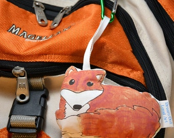 Fox Backpack Buddy Pocket Pet mini plushie with carabiner clip
