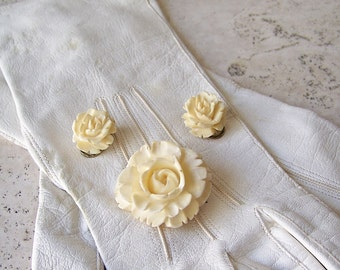 Antique Hand Carved Bone Floral Rose Pendant and Earrings Rare Art Nouveau Design 1910s