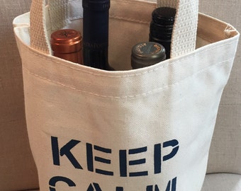Keep Calm/Drink Wine Tote -Navy