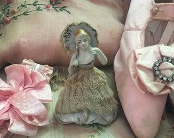 Antique Vintage Figurine Japan Woman Lace Dress Parasol