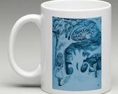 Alice in Wonderland Mug - Alice & Cheshire- Which Way, Alice, Tim Burton Inspired, proceeds to Alzheimer's Association