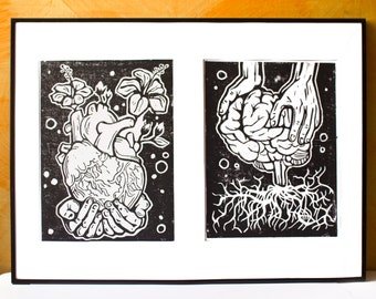LINOCUT PRINT- anatomical BRAIN and roots - artistic print- linogravure
