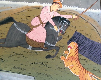 "Mughal Lion Hunt on Horseback, Vintage Paper Miniature Painting, Matted, 14"" x 12""inches"