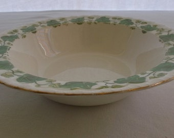 Vintage China Serving Bowl, Pope Gosser China, American Ivy, Green Ivy with Gold Edge