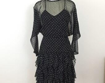 80's sheer polk a dot ruffled party dress/ vintage 1980s mini dress / sheer long sleeve dress/ small - medium