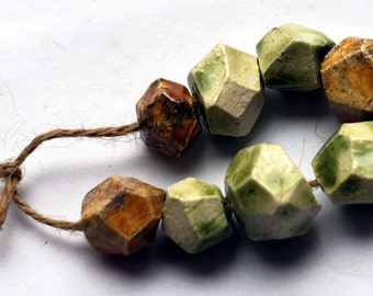 The clear body of spring -- a set of 8 faceted ceramic art beads