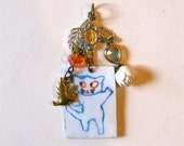 Cat Isabelle Rey Illustration Charm - Mini Assemblage - Lucky Charm - Recycled Pieces - Boho Chic Pendant