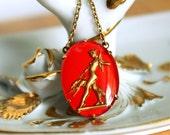 Goddess Diana Greyhound Necklace - Vintage Reverse Painted Glass Artemis - Renaissance Fair Jewelry