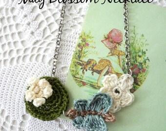 CROCHET PATTERN Thumbelina Necklace-crochet necklace,crochet story,fairytale necklace,crochet lilypad,butterfly,may blossom,crochet applique