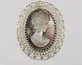 RESERVED For Debra KL Sterling Mother of Pearl MOP Abalone Cameo Brooch Pendant In Filigree Frame