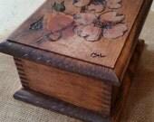 Woodburned pine box with dogwood flowers
