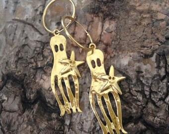 Chunky octopus earrings- nautical hoops