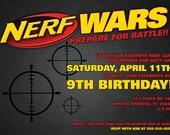 Nerf Wars Invitation - 5 x 7 - Digital Download PDF