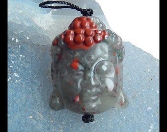 Carved African Blood Stone Gemstone Buddha Head Pendant Bead,30x25x10mm,12.2g