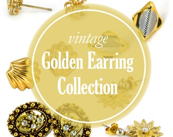 Golden Vintage Earrings Collection - 5 Pairs of Earrings - Vintage Earring Lot - 1970s Earring Studs - Gift for Her - Fancy Jewelry