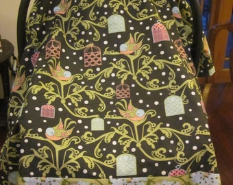 Car Seat Canopy // Reversible // Birds and Flowers