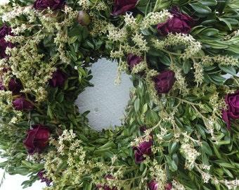 Boxwood Wreath  Dried Wreath  Birthday Gift  Get Well Gift  Door Wreath  Rose Wreath  Boxwood   Dried Wreath  Natural Wreath