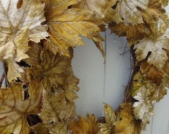 Elegant Wreath  Front Door Wreath  Autumn Wreath  Leaves Of Autumn Wreath    Hand Crafted Wreath  Home Decor Door Wreath