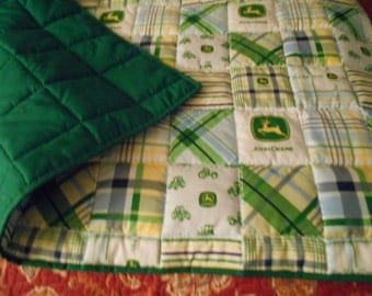 "John Deere Bedding Green  Homemade Baby Toddler  Bed or Crib  Quilt  Comforter 36 "" x  52 ''"