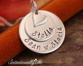 Hand Stamped Mommy Jewelry - Personalized Layered Sterling Silver Necklace - Stack of Two with heart by Intentionally Me