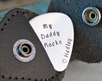 Guitar Pick key chain with leather case - Hand Stamped Personalized Aluminum - My Daddy Rocks